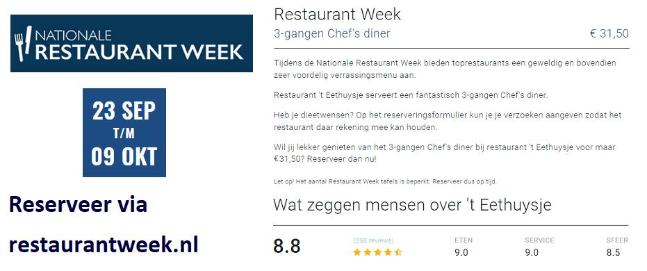 Restaurantweek najaar 2019